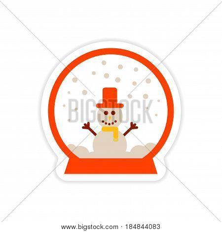 paper sticker on white background snowman in snow globe