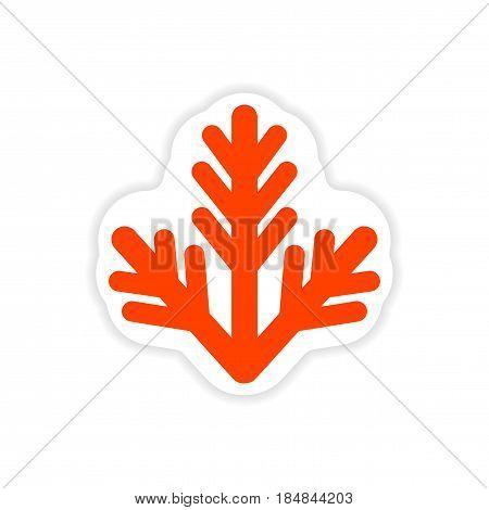 paper sticker on white background fur-tree branch
