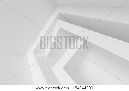 White Modern Architecture Background. Abstract Building Blocks. Minimal Geometric Shapes Design. 3d Rendering