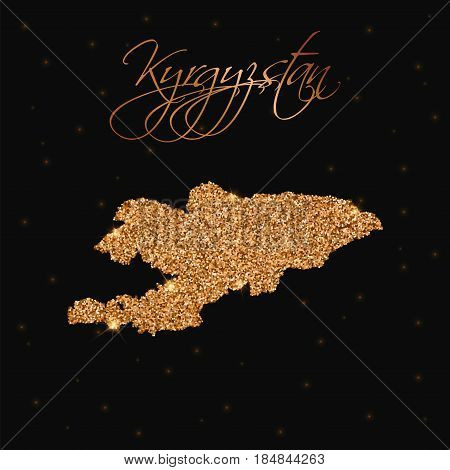 Kyrgyzstan Map Filled With Golden Glitter. Luxurious Design Element, Vector Illustration.