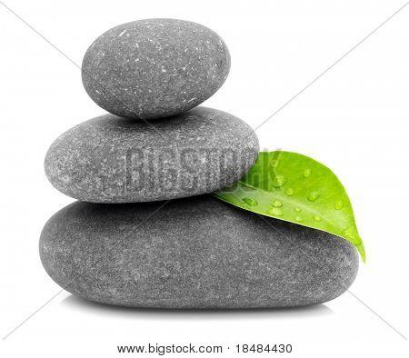 green leaf and zen stones