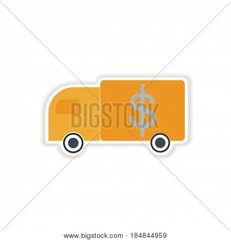 stylish sticker on paper car and money