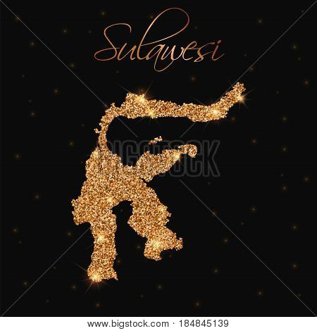 Sulawesi Map Filled With Golden Glitter. Luxurious Design Element, Vector Illustration.