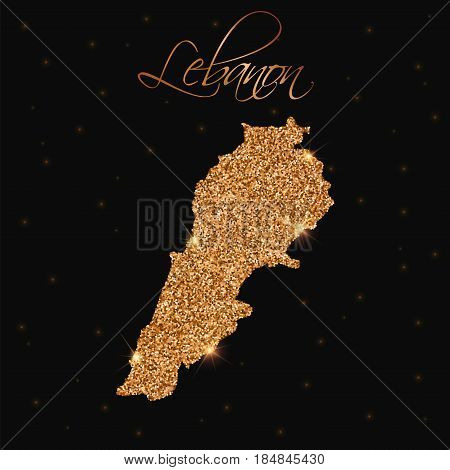 Lebanon Map Filled With Golden Glitter. Luxurious Design Element, Vector Illustration.
