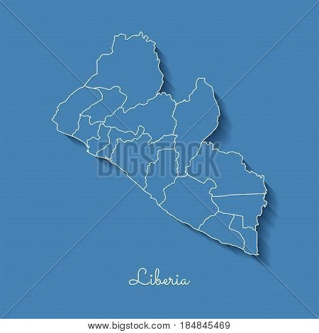 Liberia Region Map: Blue With White Outline And Shadow On Blue Background. Detailed Map Of Liberia R