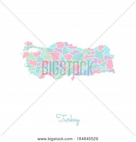 Turkey Region Map: Colorful With White Outline. Detailed Map Of Turkey Regions. Vector Illustration.