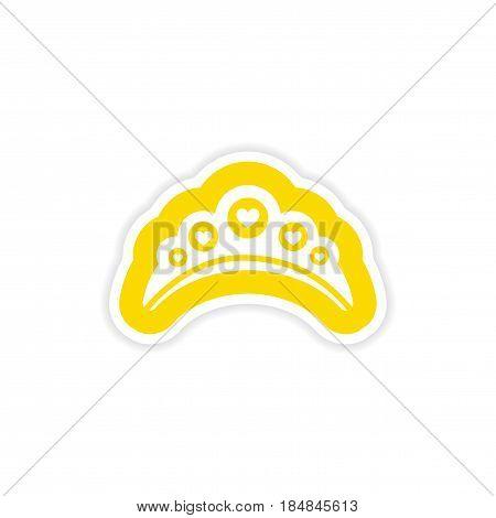 paper sticker on white background diadem heart