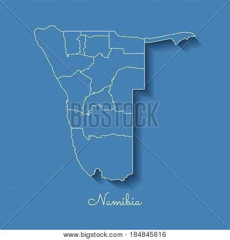 Namibia Region Map: Blue With White Outline And Shadow On Blue Background. Detailed Map Of Namibia R