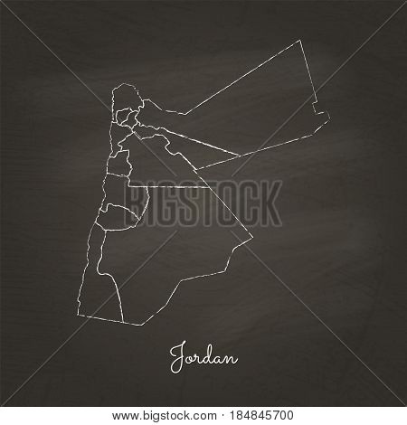 Jordan Region Map: Hand Drawn With White Chalk On School Blackboard Texture. Detailed Map Of Jordan