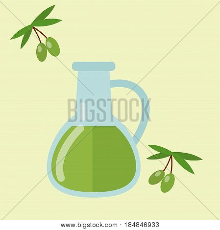 European tasty food olive oil branch cuisine dinner food showing delicious elements flat vector illustration. Rustic traditional snack cooking plate. Tasty lunch meat and other fresh dish