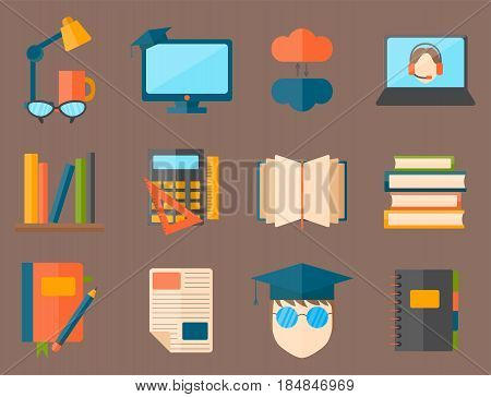 Education school university set and knowledge global concept web icons college training graduate symbols. Teaching flat diploma lesson idea elements information sign vector illustration.