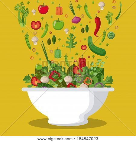 salad mixed vegetables diet food fall image vector illustration