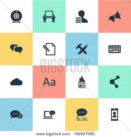 Vector Illustration Set Of Simple Newspaper Icons. Elements Site, Document, Loudspeaker And Other Synonyms Smartphone, Coming And Site.
