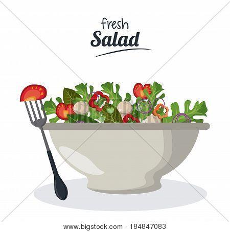 fresh salad bowl with vegetables menu meat fork vector illustration
