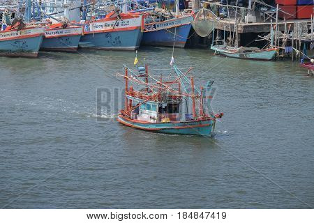 Rayong THAILAND -APR 17 2017:Pra-Sae Sea Port Rayong province For shipping. at the bridge for see view fishing village there are also small fishing boats.