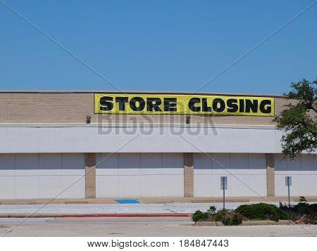 Dallas, USA, 4th May 2017 The closing is to make room for the new massive retail residential complex adjacent to the Galleria. This store is in the old Valleyview Mall, a block away.