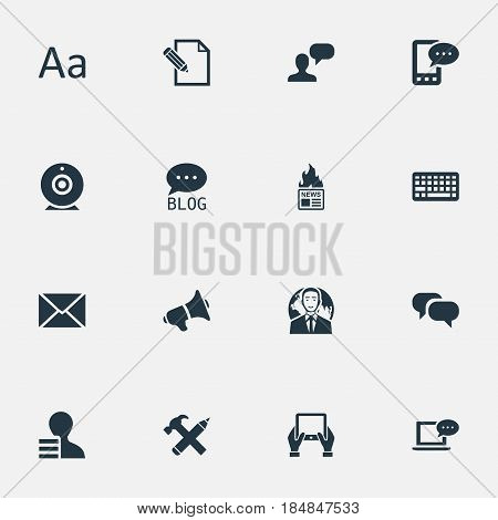 Vector Illustration Set Of Simple Newspaper Icons. Elements Gossip, Gazette, Repair And Other Synonyms Alphabet, Camera And Hammer.