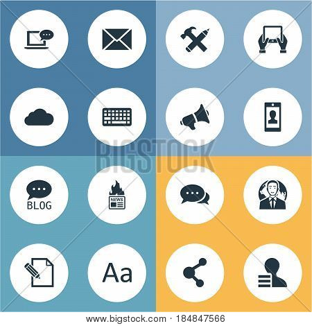 Vector Illustration Set Of Simple User Icons. Elements Notepad, Share, Gazette And Other Synonyms Typography, Post And Overcast.