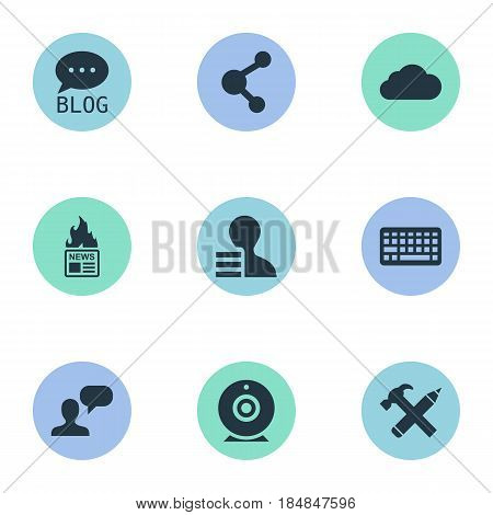 Vector Illustration Set Of Simple User Icons. Elements Overcast, Gain, Man Considering And Other Synonyms Sky, News And Cloud.