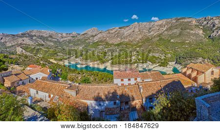 High Resolution Panorama of Guadalest Village and Lake in Alicante Province of Spain