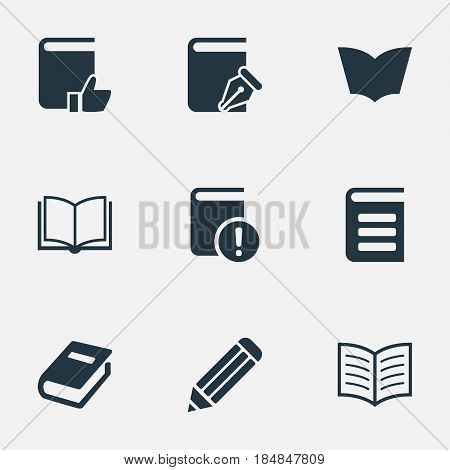 Vector Illustration Set Of Simple Books Icons. Elements Pen, Important Reading, Book Page And Other Synonyms Write, Textbook And Page.