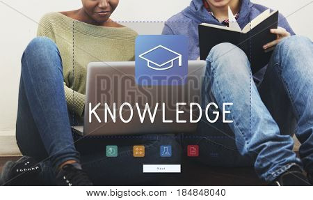 Group of students study literacy academics education mortar board graphic