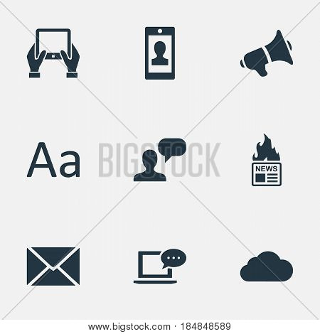 Vector Illustration Set Of Simple Blogging Icons. Elements Laptop, Man Considering, Profile And Other Synonyms Gazette, Profile And Loudspeaker.