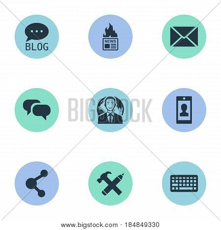 Vector Illustration Set Of Simple User Icons. Elements Share, International Businessman, Site And Other Synonyms Forum, Missive And Laptop.