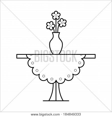 Small coffee side table with tablecloth, vase with flowers on it, home furniture lineart design, hand drawn sketch of single object, interior concept, vector illustration on white background