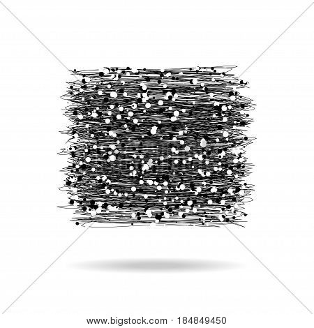 Hand drawn black squares. Grunge design banner whith different dots and small circles. Vector illustration