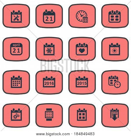 Vector Illustration Set Of Simple Calendar Icons. Elements Heart, Deadline, Event And Other Synonyms April, Almanac And Hour.