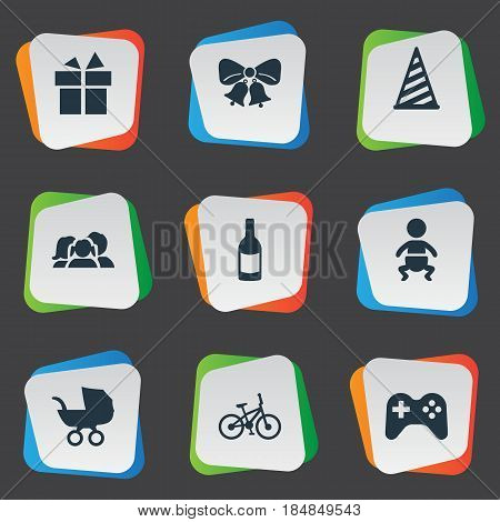 Vector Illustration Set Of Simple Holiday Icons. Elements Game, Bicycle, Baby Carriage And Other Synonyms Beverage, Bells And Carriage.