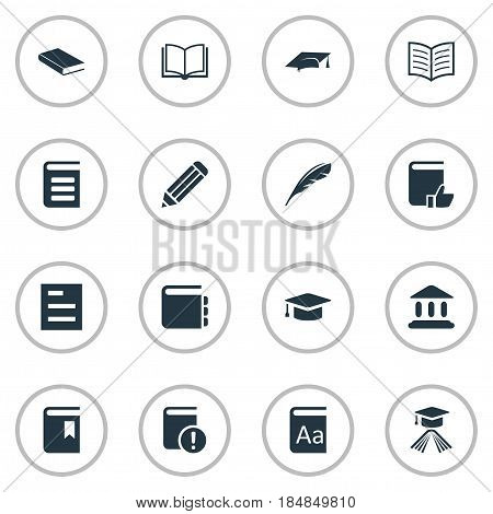 Vector Illustration Set Of Simple Education Icons. Elements Plume, Pen, Library And Other Synonyms Book, Notepad And Plume.