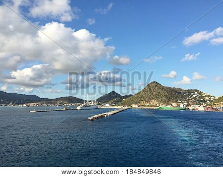 St. Martin waterfront, Caribbean Islands Approaching Philipsburg harbor in the island of St. Martin