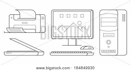 Set of computer office equipment: scanner and printer, desktop PC with keyboard and mouse. Simple icons of gadgets in outline style. Vector thin line black illustrations isolated on white background.