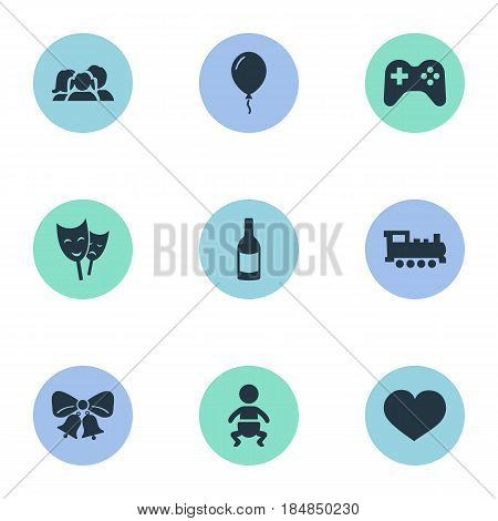 Vector Illustration Set Of Simple Birthday Icons. Elements Train, Mask, Resonate And Other Synonyms Champagne, Sky And Play.