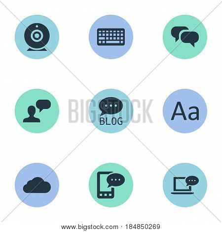 Vector Illustration Set Of Simple Newspaper Icons. Elements Broadcast, E-Letter, Cedilla And Other Synonyms Message, Sky And Broadcast.