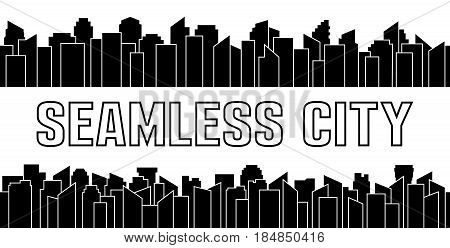 Set of black seamless city silhouette. Urban and sky scraper. Vector illustration