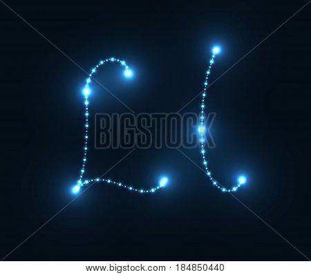 Glow alphabet. Shiny sign L. Vector illustration