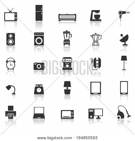Household icons with reflect on white background, stock vector