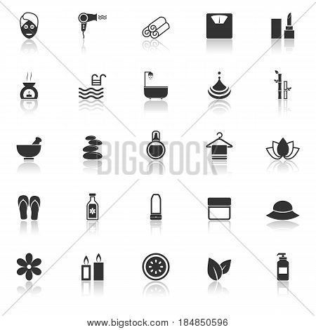 Beauty icons with reflect on white background, stock vector