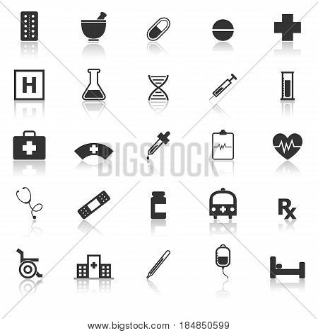Pharmacy icons with reflect on white background, stock vector