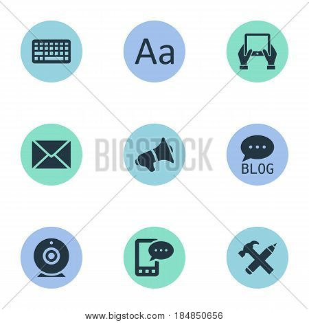 Vector Illustration Set Of Simple Newspaper Icons. Elements Repair, Keypad, Notepad And Other Synonyms Alphabet, Laptop And Pencil.