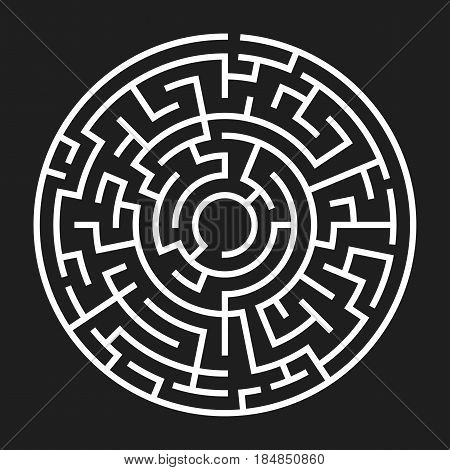 Circle Maze. Labyrinth with Entry and Exit. Find the Way Out Concept. Vector Illustration.