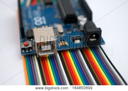 Arduino technology on a colorful clear background