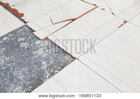 Old and broken floor tiles