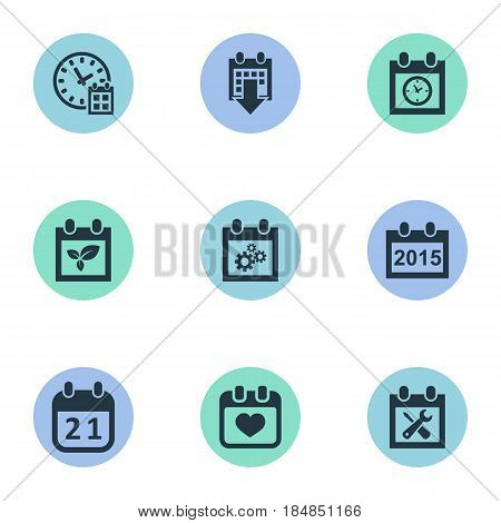 Vector Illustration Set Of Simple Calendar Icons. Elements History, Agenda, Heart And Other Synonyms Repair, Deadline And Planner.