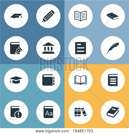 Vector Illustration Set Of Simple Reading Icons. Elements Blank Notebook, Tasklist, Important Reading And Other Synonyms Sketchbook, Pen And Encyclopedia.