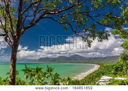 Port Douglas Four Mile Beach and ocean on sunny day, Queensland, Australia