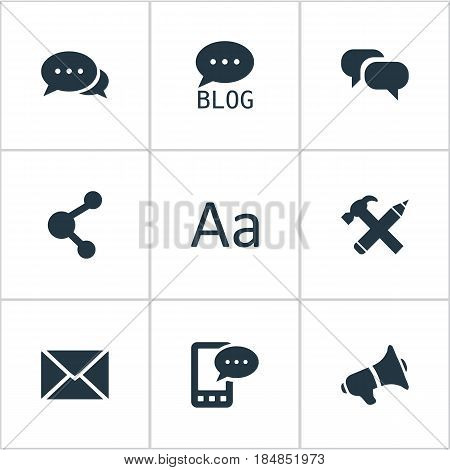 Vector Illustration Set Of Simple Newspaper Icons. Elements Repair, E-Letter, Gossip And Other Synonyms Speech, Gossip And Discussion.